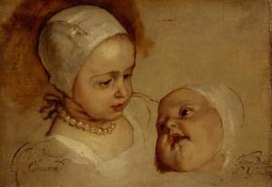 Sir Anthony van Dyck: Princess Elizabeth and Pricess Anne, Daughters of Charles I, 1637