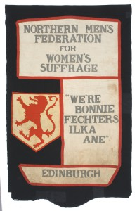 Men's banner in support of women's suffrage