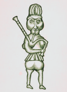 Piper, carved in relief on a wooden panel, from Threave Castle, Calloway, late 15th century. © National Museums Scotland